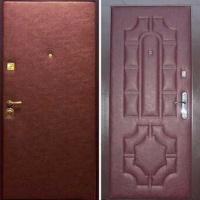 Стальная дверь с гладкой винилискожей и винилискожей с рисунком