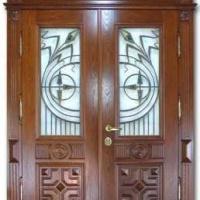 Железная эксклюзивная дверь с массивом дуба с 2-х сторон с витражами