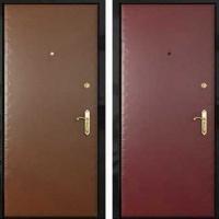 Железная дверь с гладкой винилискожей с 2-х сторон