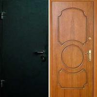 Входная дверь с простым окрасом и МДФ