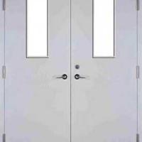 Входная техническая дверь со стеклом с простым окрасом с 2-х сторон