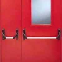 Стальная техническая дверь со стеклом с простым окрасом с 2-х сторон
