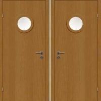 Металлическая техническая дверь со стеклом с ламинатом с 2-х сторон