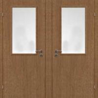 Железная техническая дверь со стеклом с ламинатом с 2-х сторон