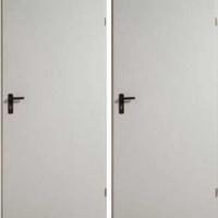 Железная техническая дверь с простым окрасом с 2-х сторон