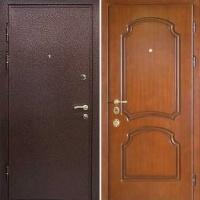 Входная дверь в частный дом с порошковым напылением и МДФ