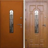 Входная дверь со стеклом и ковкой с порошковым напылением и МДФ