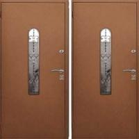 Железная дверь со стеклом и ковкой с порошковым напылением с 2-х сторон