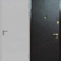 Стальная дверь для дачи с простым окрасом и винилискожей
