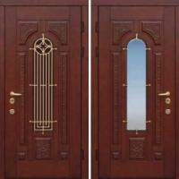 Железная дверь с зеркалом с массивом дерева с 2-х сторон