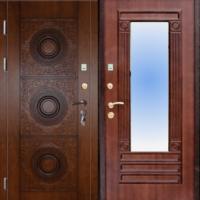 Входная дверь с зеркалом с массивом дерева с 2х сторон