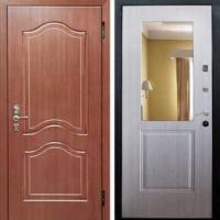 Входная дверь с зеркалом с МДФ и ламинатом