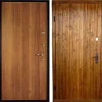 Стальная дверь с вагонкой и ламинатом