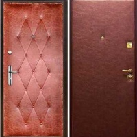 Металлическая дверь с винилискожей с рисунком и гладкой винилискожей