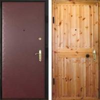 Металлическая дверь с вагонкой и винилискожей