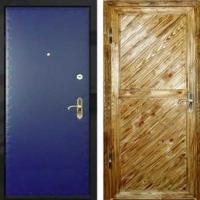 Входная дверь с вагонкой и винилискожей