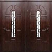Железная дверь со стеклом и МДФ с 2х сторон