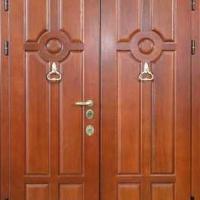 Железная двухстворчатая дверь с массивом дуба с 2-х сторон