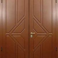 Металлическая двухстворчатая дверь с МДФ с 2-х сторон