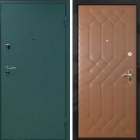 Входная дверь эконом класса с обычным окрасом и винилискожей с рисунком