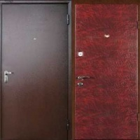 Входная дверь эконом класса порошковое напыление и винилискожа гладкая