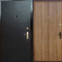 Металлическая дверь с винилискожей гладкой и ламинатом