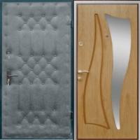 Железная дверь с винилискожей с рисунком и ламинатом с зеркалом