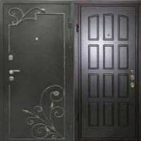 Стальная дверь с порошковым напылением и ковкой и МДФ