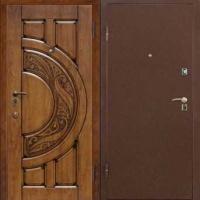 Железная дверь с порошковым напылением и массивом дуба