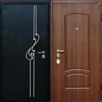 Металлическая дверь с порошковым напылением с ковкой и МДФ
