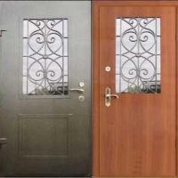 Стальная дверь со стеклом с порошковым напылением и ламинатом