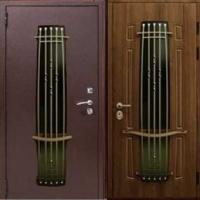 Железная дверь со стеклом с порошковым напылением и массивом