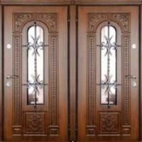 Стальная дверь со стеклом с массивом с двух сторон