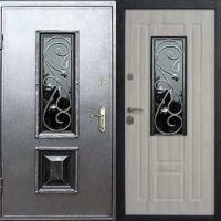 Входная дверь со стеклом с порошковым напылением и МДФ