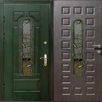 Стальная дверь со стеклом с массивом и МДФ
