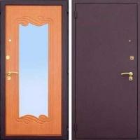 Входная дверь с порошковым напылением и МДФ с зеркалом