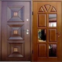 Металлическая дверь с зеркалом с массивом с 2-х сторон