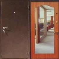Входная дверь с зеркалом с порошковым напылением и МДФ