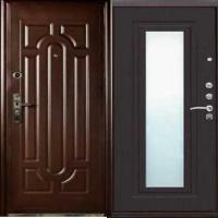 Стальная дверь с зеркалом с массивом и МДФ