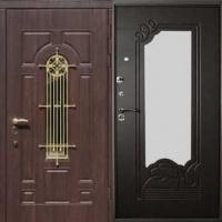 Железная дверь с зеркалом с массивом с ковкой и МДФ
