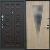 Железная дверь с зеркалом с МДФ и ламинатом