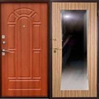 Металлическая дверь с зеркалом с МДФ и ламинатом