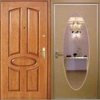 Стальная дверь с зеркалом с МДФ и ламинатом