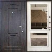 Железная дверь с зеркалом с массивом и мдф