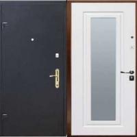 Железная дверь с зеркалом с порошковым напылением и МДФ