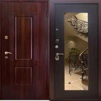 Металлическая дверь с зеркалом с массивом и МДФ
