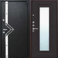 Железная дверь в коттедж с порошковым напылением и МДФ с зеркалом