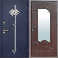 Металлическая дверь в частный дом с порошковым напылением с ковкой и МДФ с зеркалом