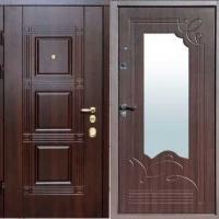 Металлическая дверь в частный дом с МДФ с 2-х сторон с зеркалом