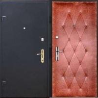 Металлическая дверь в частный дом с порошковым напылением и винилискожей с рисунком